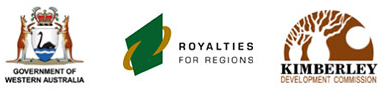 Logos of Visit Wyndham's supporters; Government of WA, Royalties for Regions, and Kimberley Development Commission